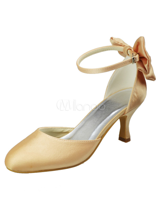 ... Champagne Round Toe Ankle Strap Satin Bridal Shoes No.2 ...