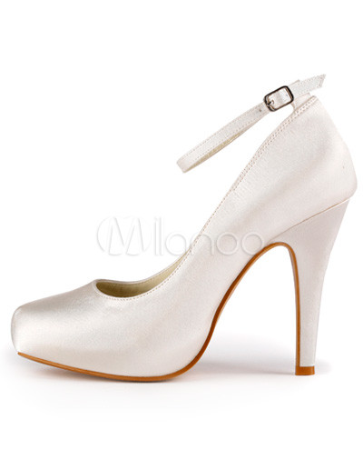 Ivory Round Toe Ankle Strap Satin Bridal Shoes No 3