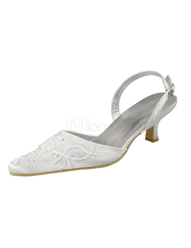 ... Low Heel Ivory Satin Sling Back Shoes-No.2 ...
