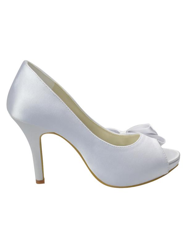 White satin bow decoration peep toe wedding bridal heels milanoo white satin bow decoration peep toe wedding bridal heels no3 junglespirit Image collections