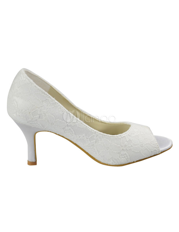 Ivory Lace Peep Toe Bridal Shoes Milanoo Com
