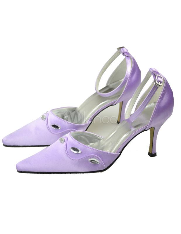 Purple Satin Paillette Wedding Pumps Milanoo Com