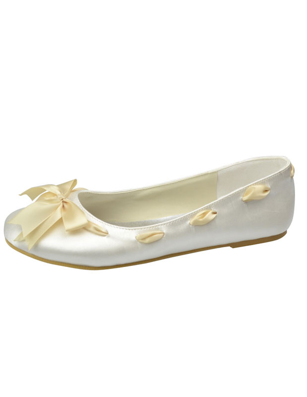Buy Sweet Ivory Round Toe Bow Satin Bridal Shoes for $64.59 in Milanoo store
