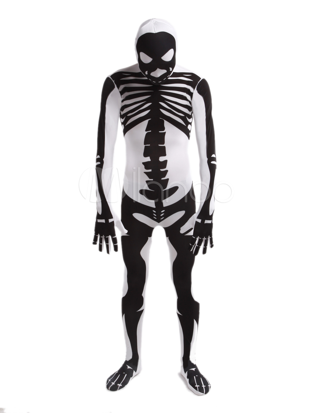 Buy White Human Skeleton Lycra Spandex Unisex Zentai Suit Halloween cosplay costume Halloween for $58.89 in Milanoo store