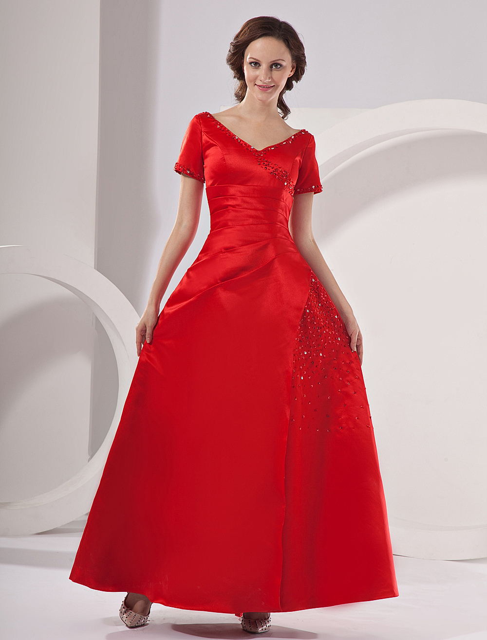 Red Short Sleeves Pleated Beaded Satin Mother Of Bride And Groom Dress