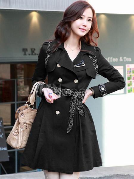 Cappotto impermeabile nero elegante aderente con pizzo in cotone -No.1 ... 1c0831bc648