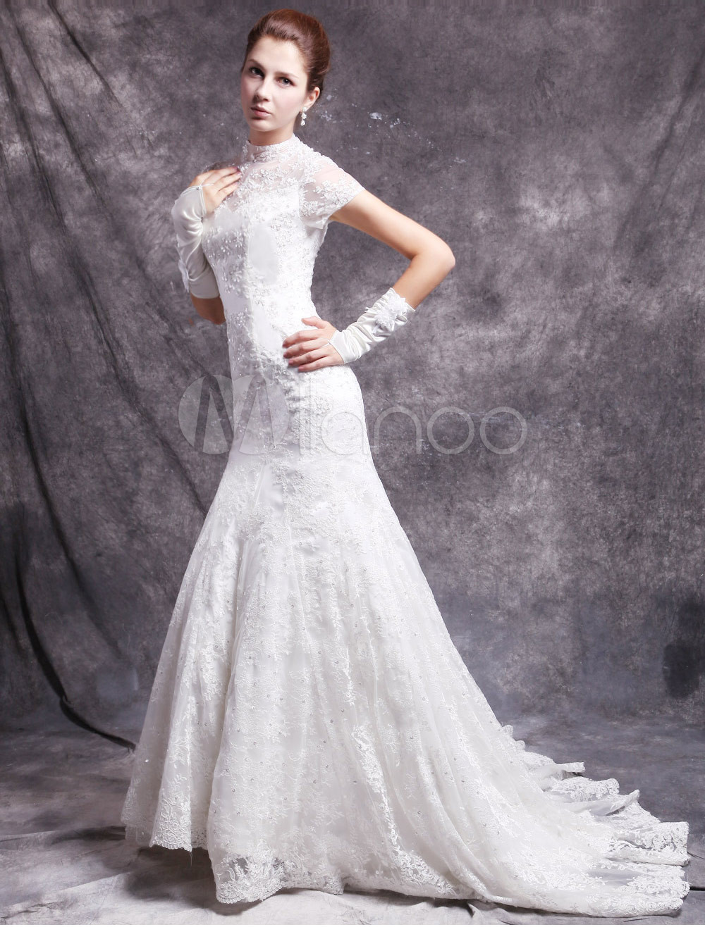 acd31c2ff17 Mermaid Wedding Dress With Short Sleeves