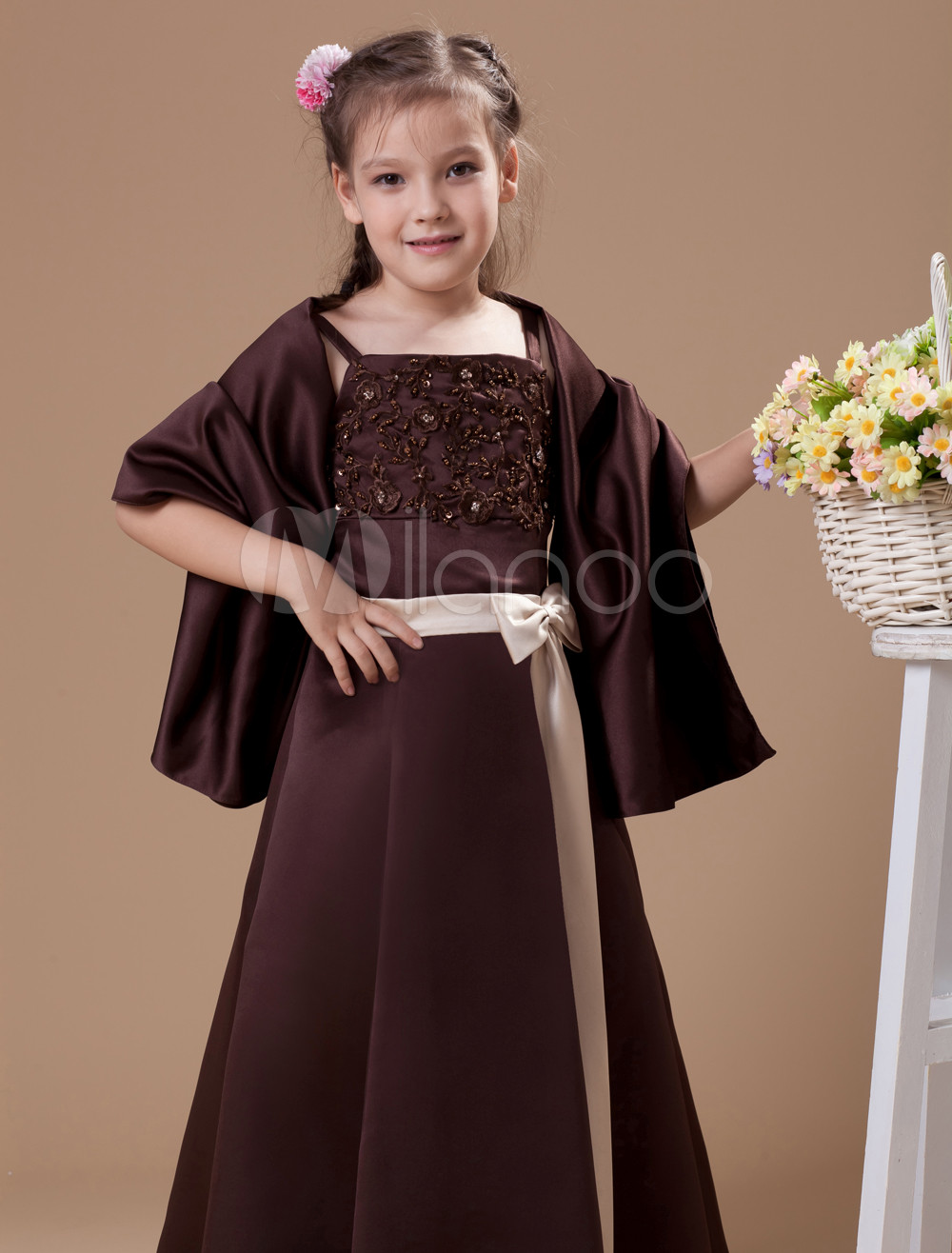 A line chocolate satin junior bridesmaid dress with sash spaghetti 30off ombrellifo Choice Image