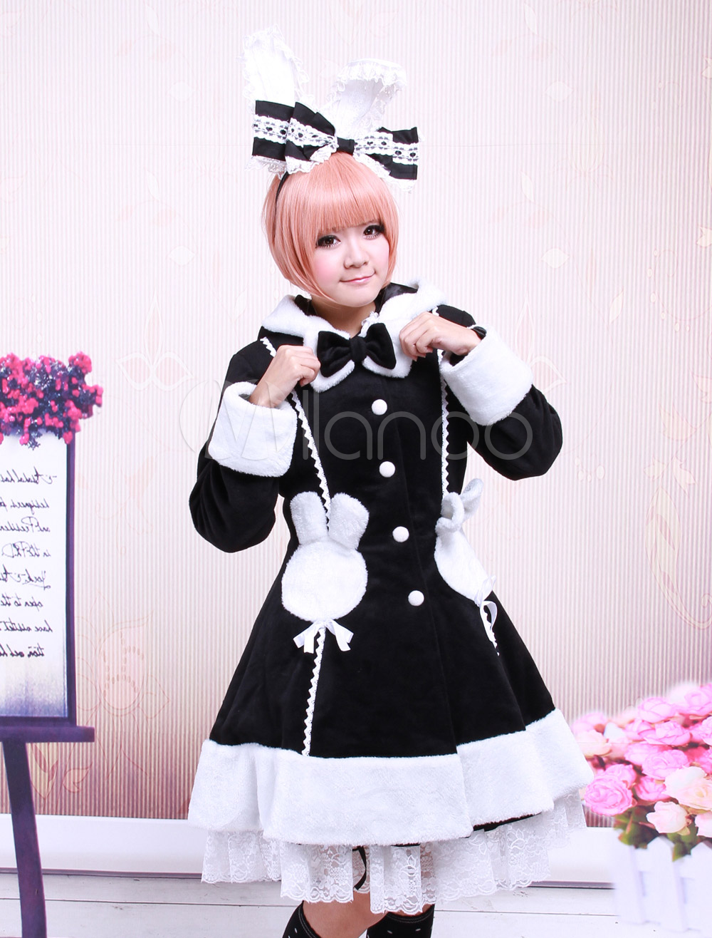 Buy Black Long Sleeves Single Breasted Wool Lolita Overcoat for $132.29 in Milanoo store