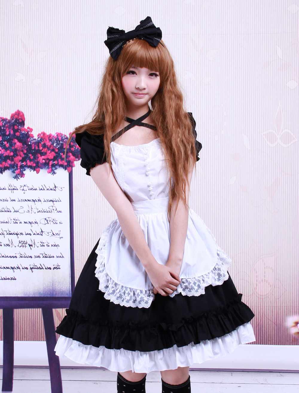 Sweet Black Cotton Maid Lolita One-piece White Apron Short Sleeves Lace Trim