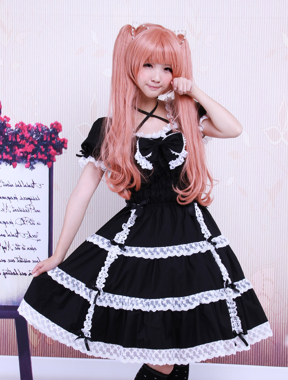 Buy Cotton Black Lace Bow Short Sleeves Gothic Lolita Dress for $78.29 in Milanoo store