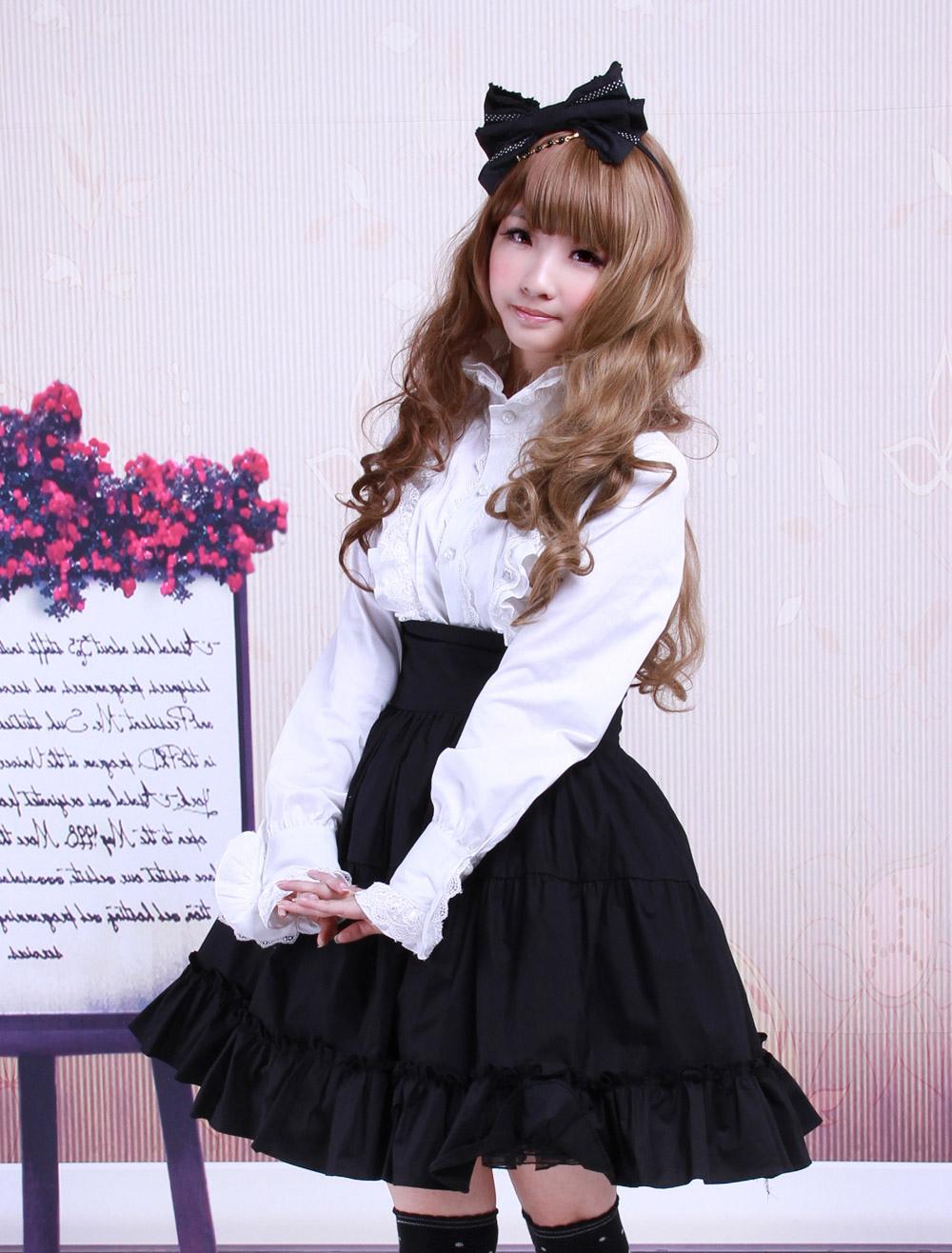 Buy Gothic Lolita Dress SK Black High Waist Ruffles Cotton Lolita Skirt for $46.99 in Milanoo store