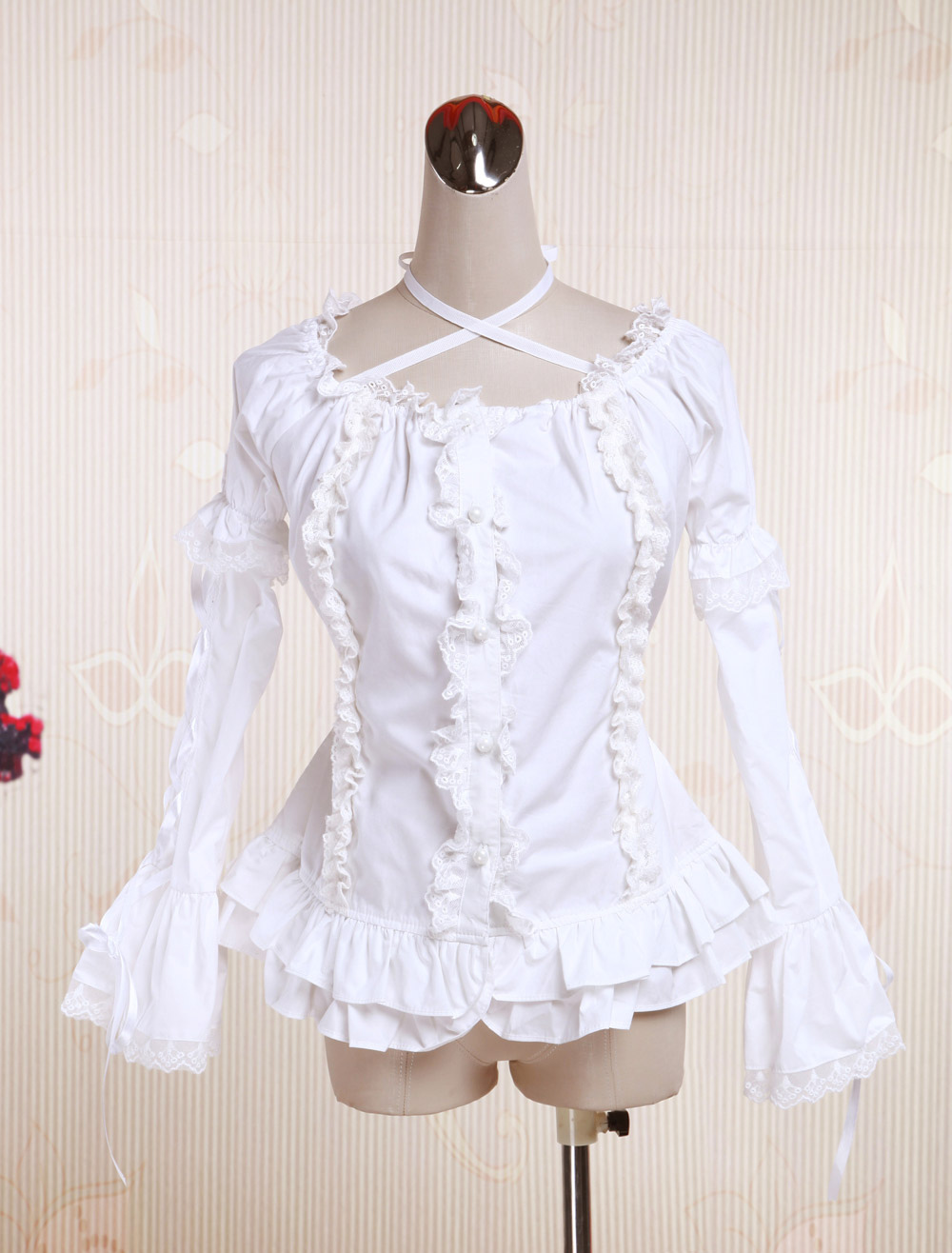 Buy White Cotton Lolita Blouse Long Hime Sleeves Neck Straps Lace Trim Ruffles for $40.99 in Milanoo store