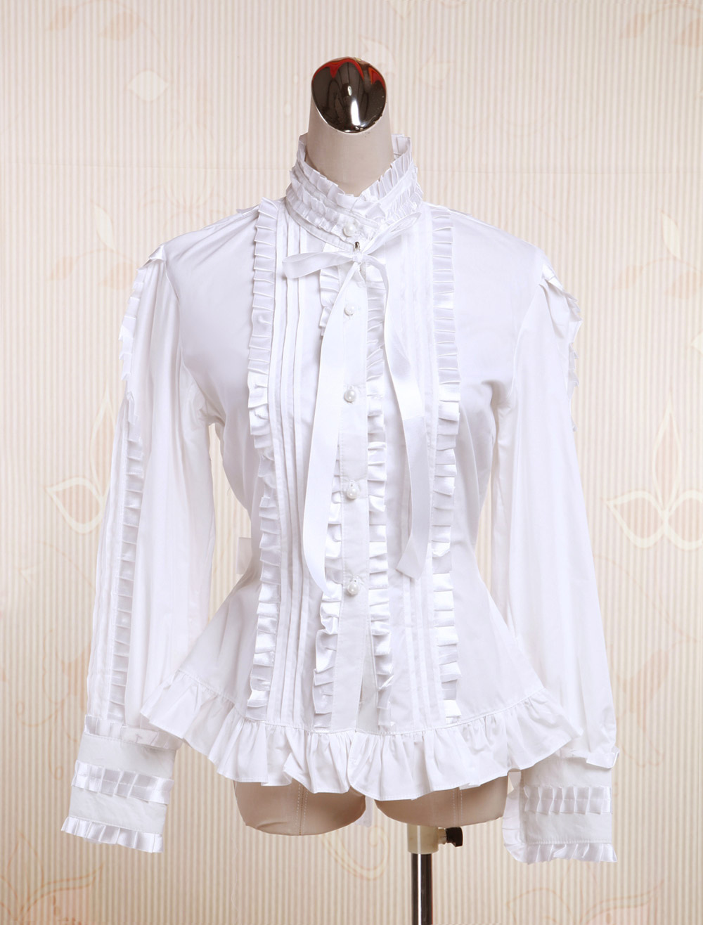 Buy White Cotton Lolita Blouse Long Sleeves Stand Colalr Lace Bow Layered Ruffles for $41.39 in Milanoo store