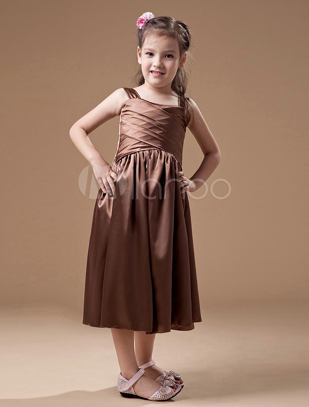 Cute brown square neck junior bridesmaid dress milanoo cute brown square neck junior bridesmaid dress no8 12 ombrellifo Images