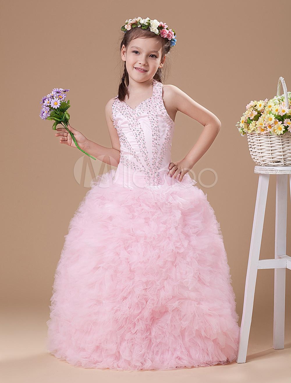 Vestido formal para niñas de malla rosada con escote Halter ...