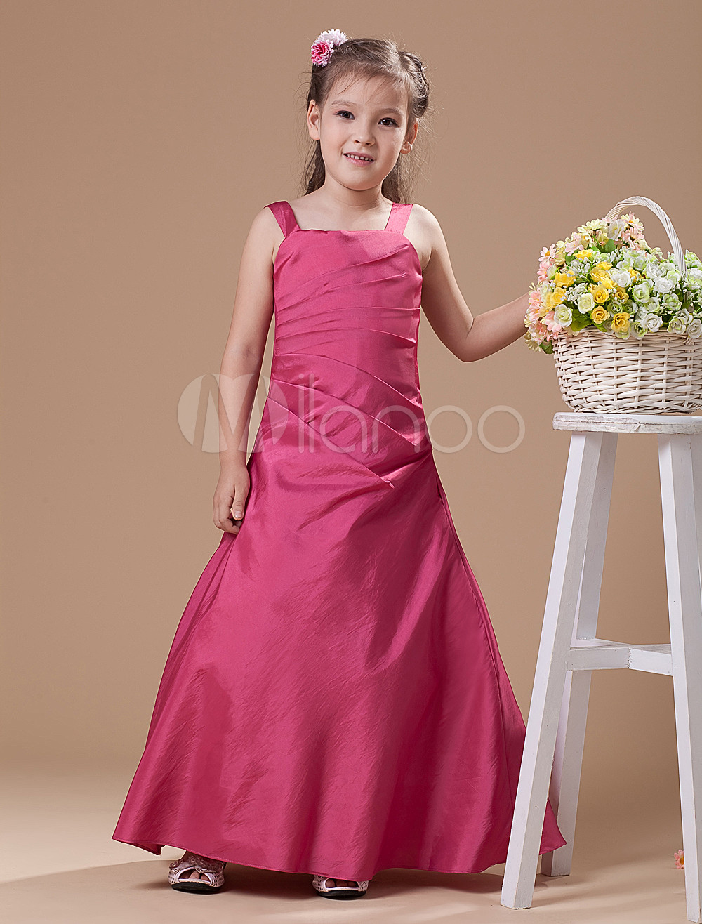 A-line Rose Red Satin Junior Bridesmaid Dress with Spaghetti Straps ...