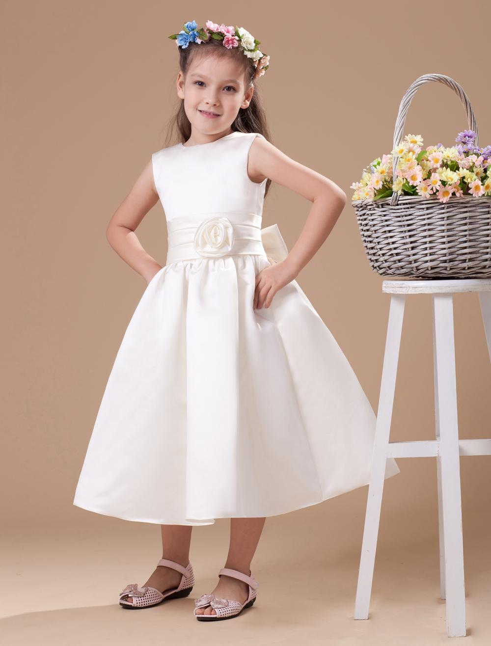 Buy Ivory Satin Flower Girl Dress for $67.49 in Milanoo store