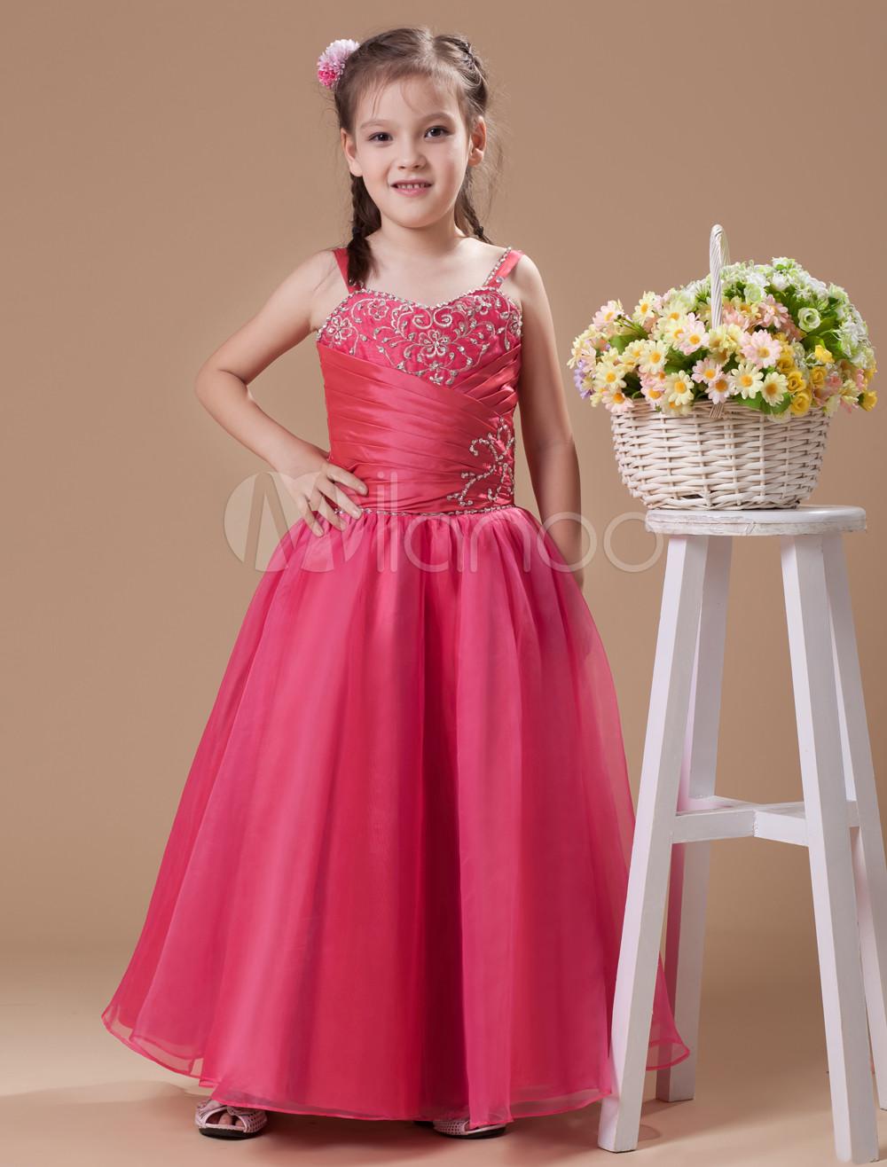 Vestido formal para niñas de tul de color rosado con tirantes ...