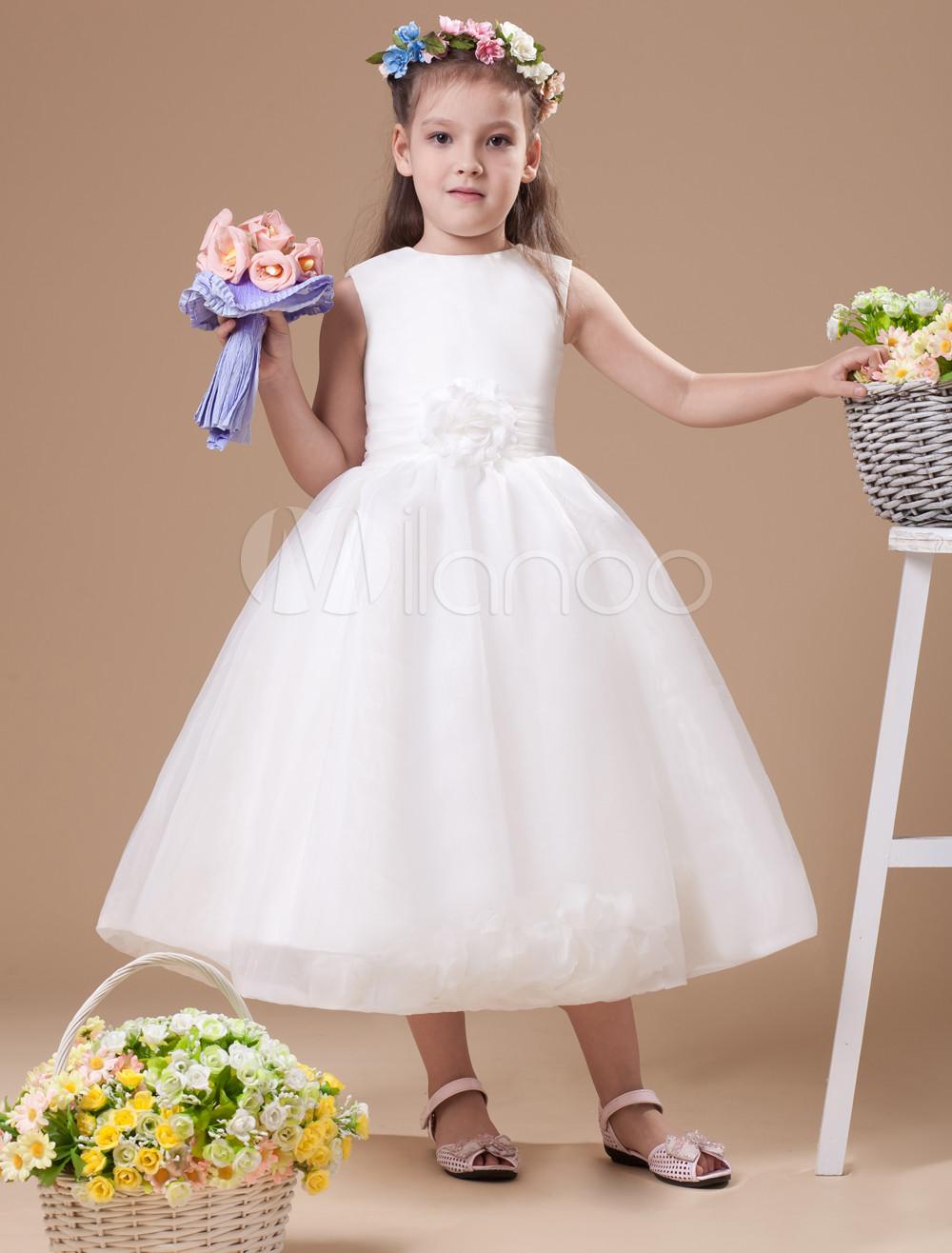 Romantic Ivory Satin Flower Girl Dress