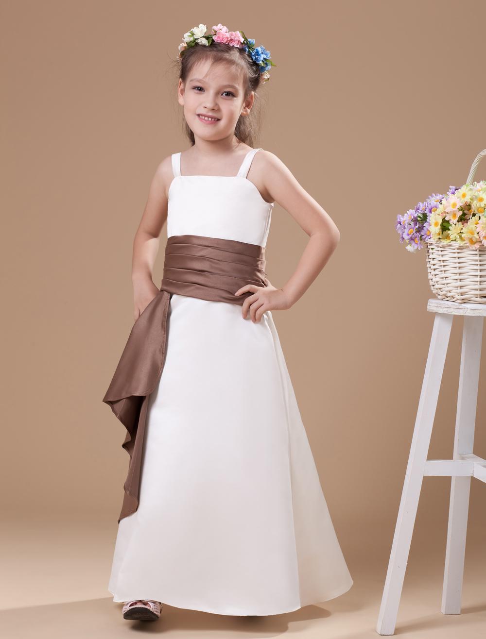 bf69e48aabb51 ... A-line White Satin Junior Bridesmaid Dress with Sash Spaghetti Straps  -No.8. 12. 30%OFF. Color:White