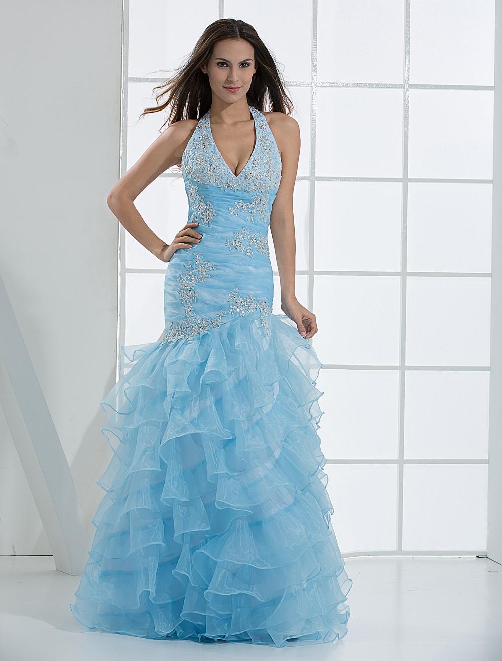 Prom-Kleid aus Tüll in Hellblau - Milanoo.com