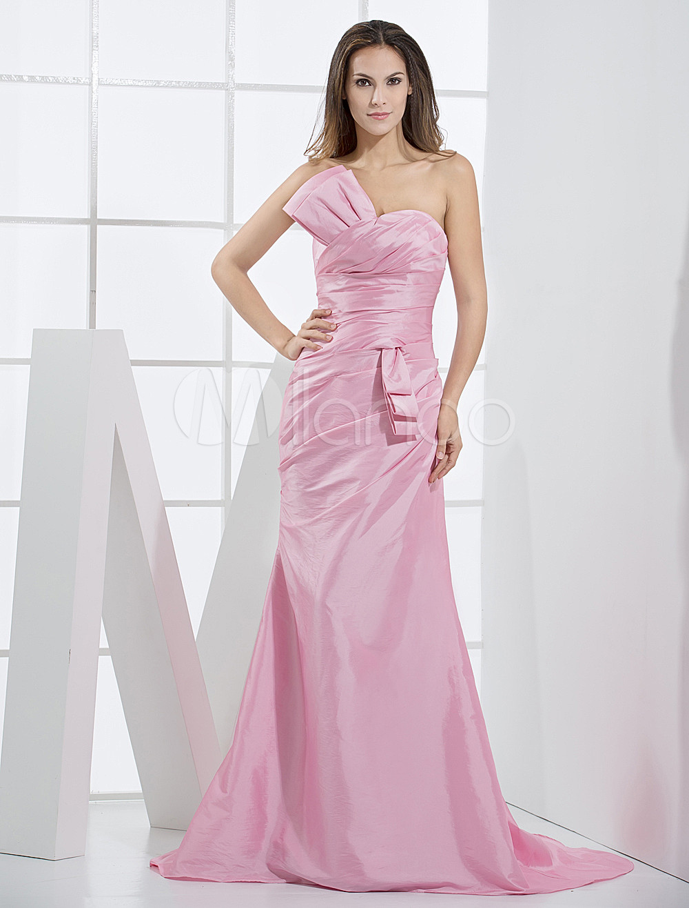 Pink Taffeta Mermaid Trumpet Ladies Special Occasion Dress - Milanoo.com