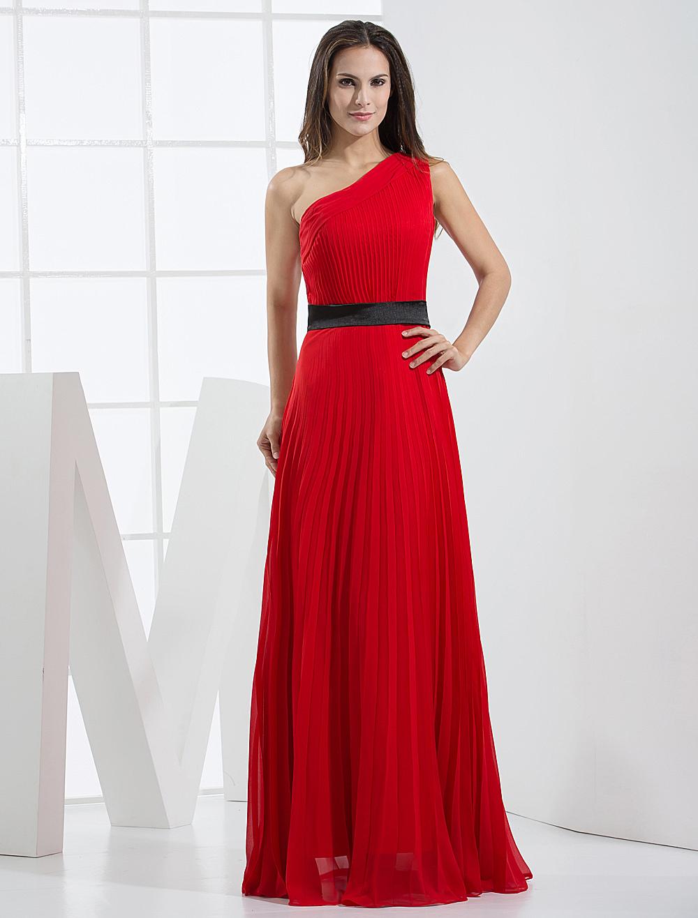 1fd93ce657a Vestido de noche rojo de gasa con un solo hombro de línea A hasta el ...