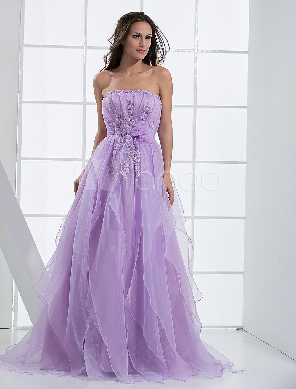 Vestido de fiesta de organza con escote palabra de honor - Milanoo.com