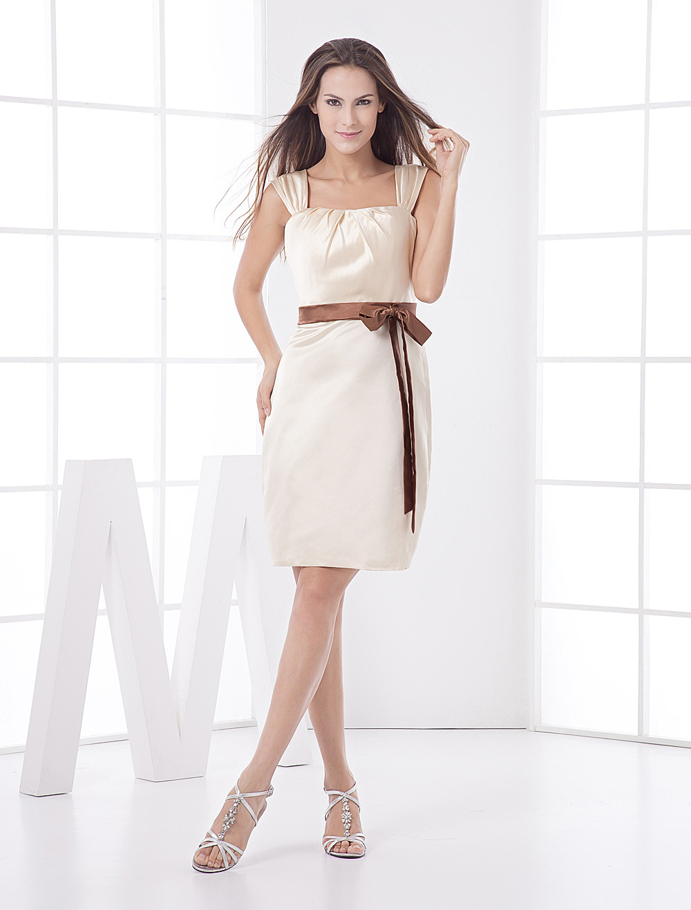 Buy A-line Gold Champagne Sash Satin Bridesmaid Dress for $97.99 in Milanoo store