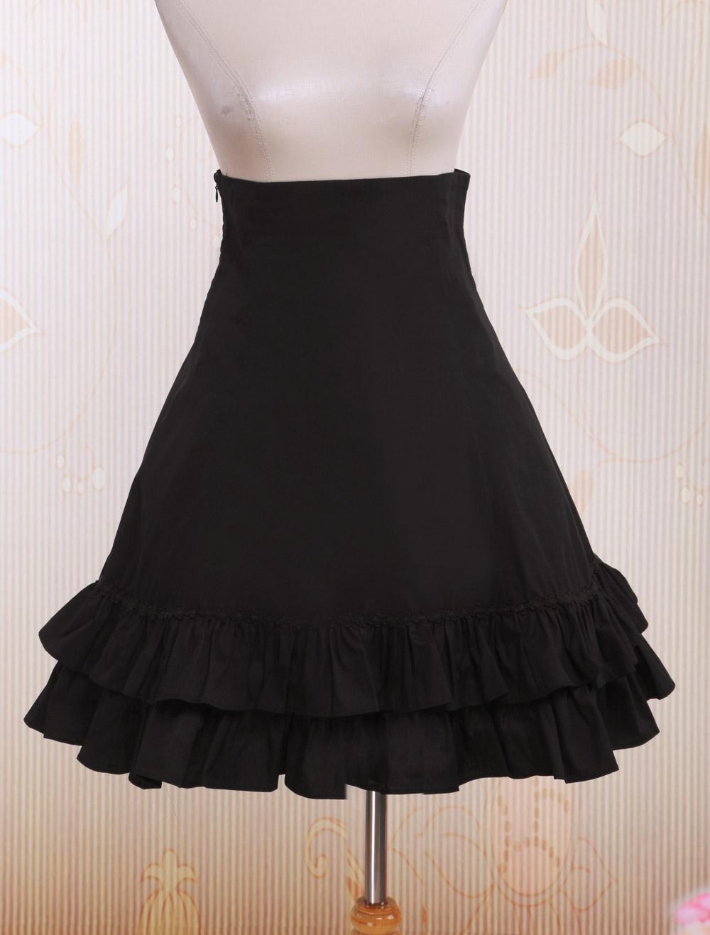 Buy Black High Waist Lolita Short Skirt Lace Up Layered Ruffles for $39.89 in Milanoo store