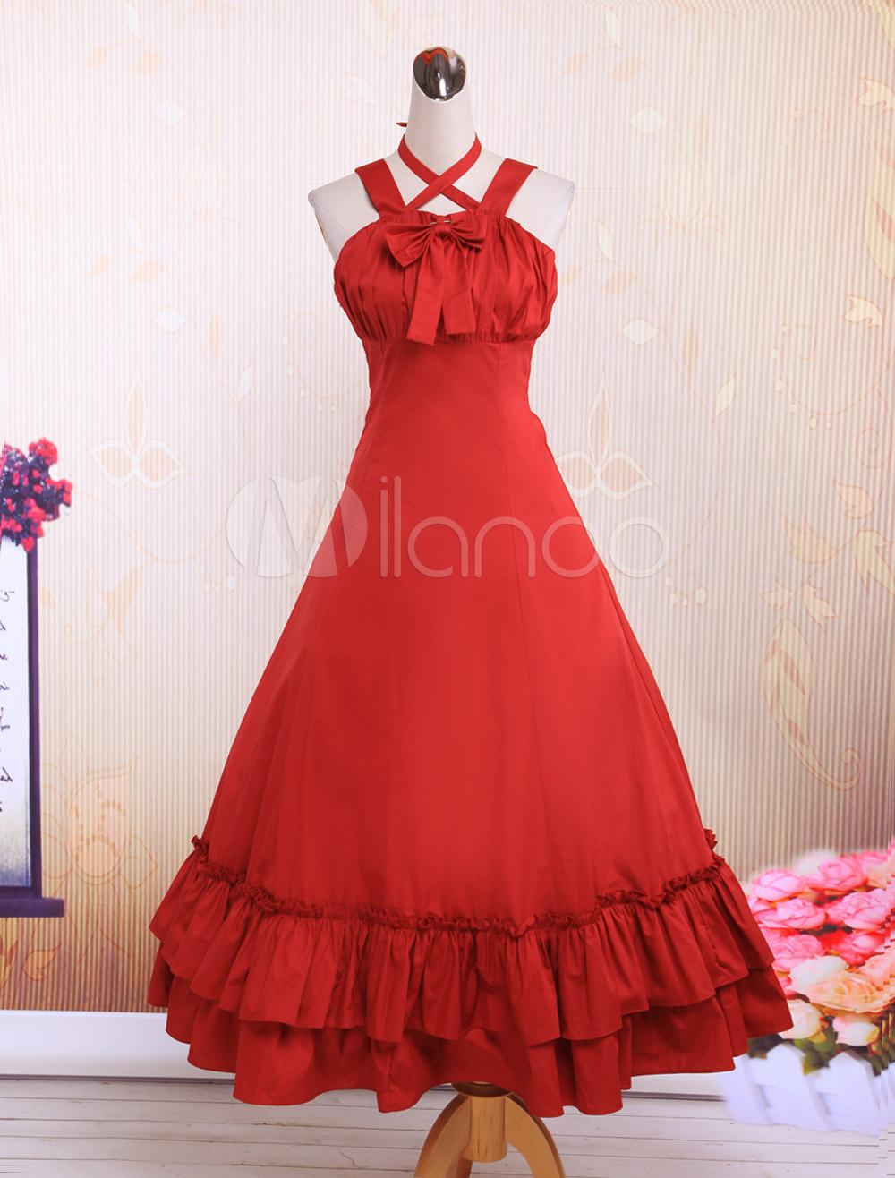 Buy Cotton Red Ruffles Classic Lolita Dress for $87.99 in Milanoo store