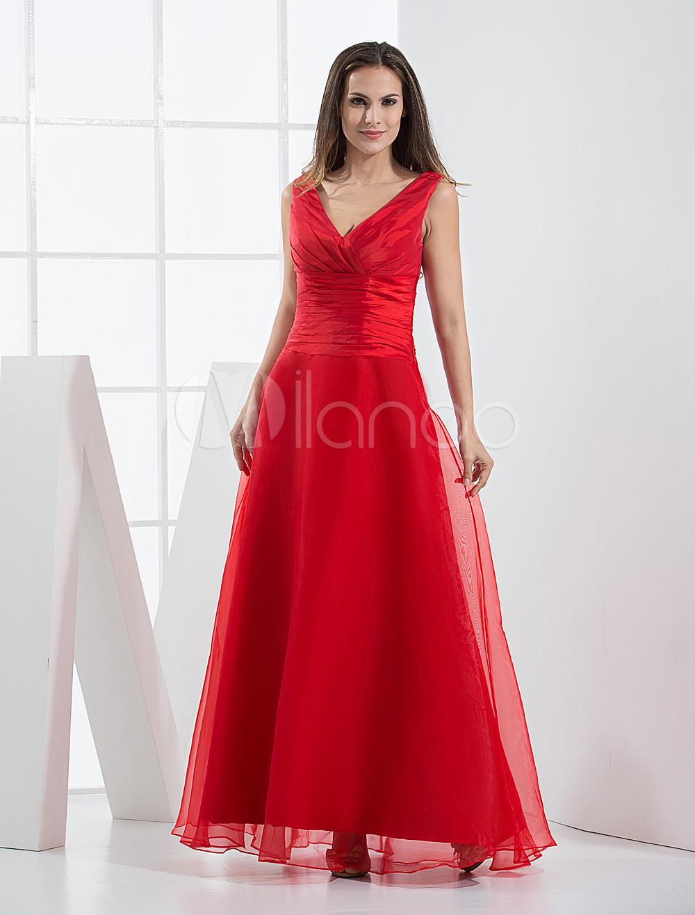 Red V-Neck Pleated Floor Length Organza Satin Bridesmaid Dress