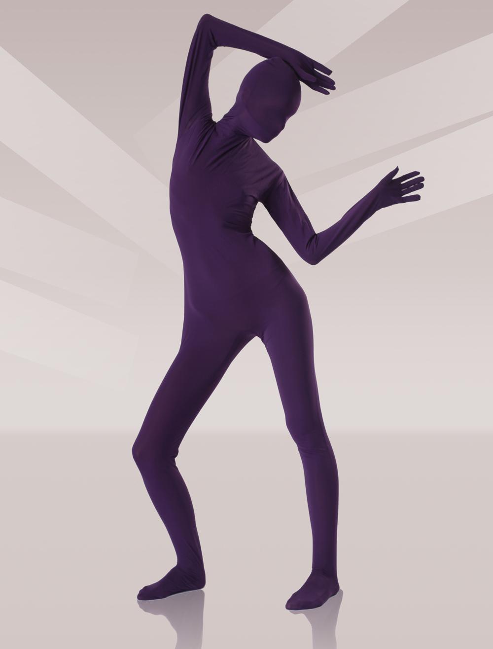 Soft Purple Silk Unisex Zentai Suits Halloween