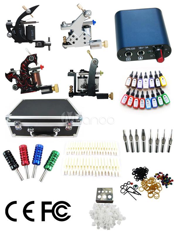 4-Machine Tattoo Gun Kit with Carrying Case - Milanoo.com