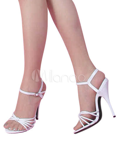 High Heel White Patent Sexy Sandals - Milanoo.com