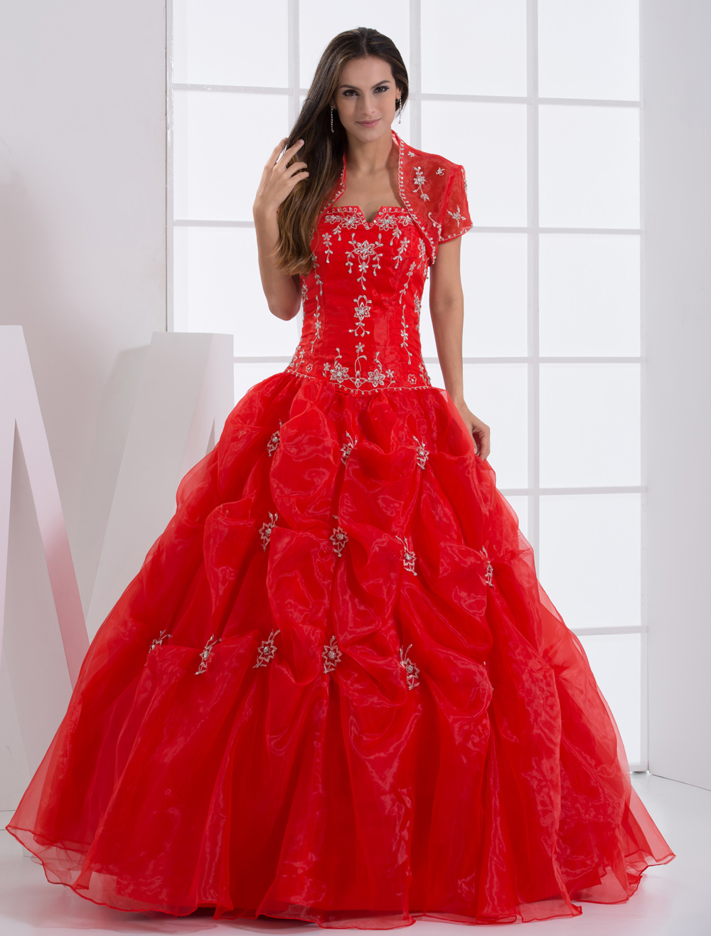 Ball Gown Red Strapless Quinceanera Dress