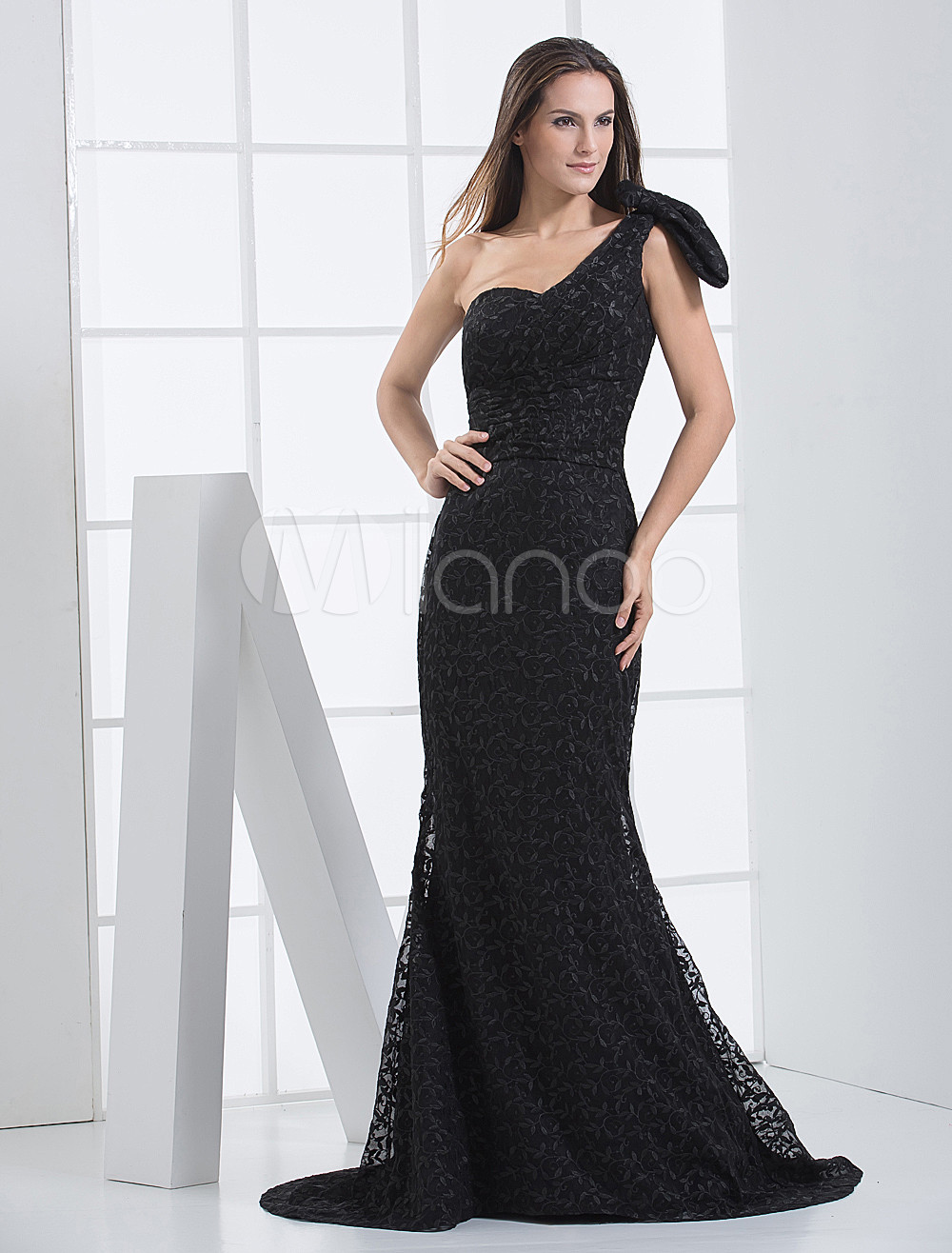 7f85f4ba2f Black Satin One Shoulder Train Ladies Evening Dress - Milanoo.com