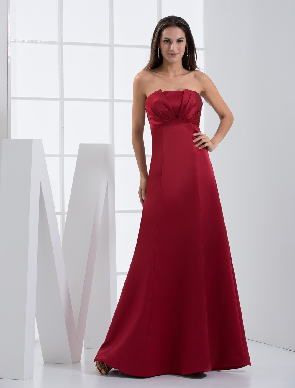 Strapless Bridesmaid Dress Ruby Satin A line Floor Length Prom Dress