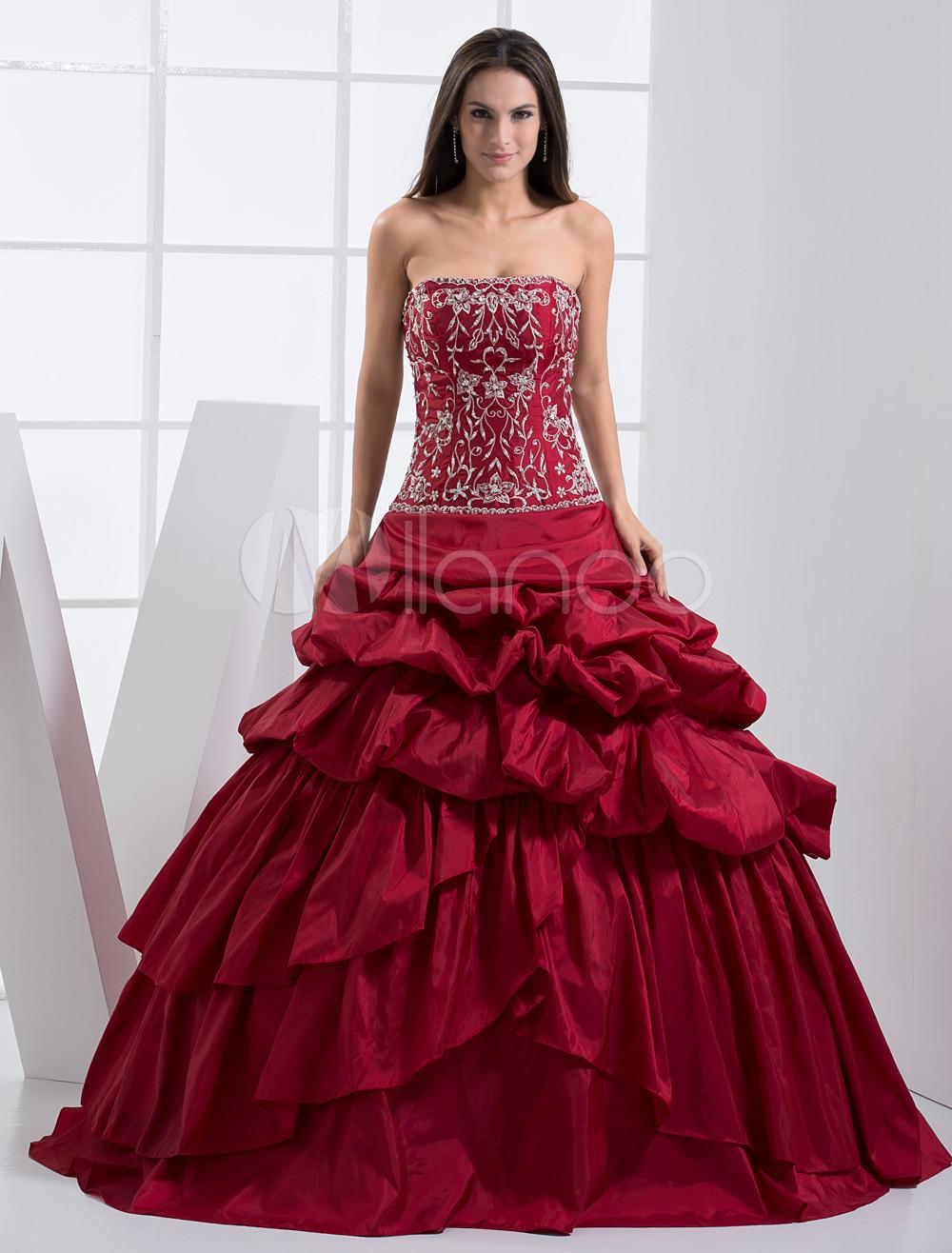 Burgundy Strapless Floor Length Beading Taffeta Ball Gown