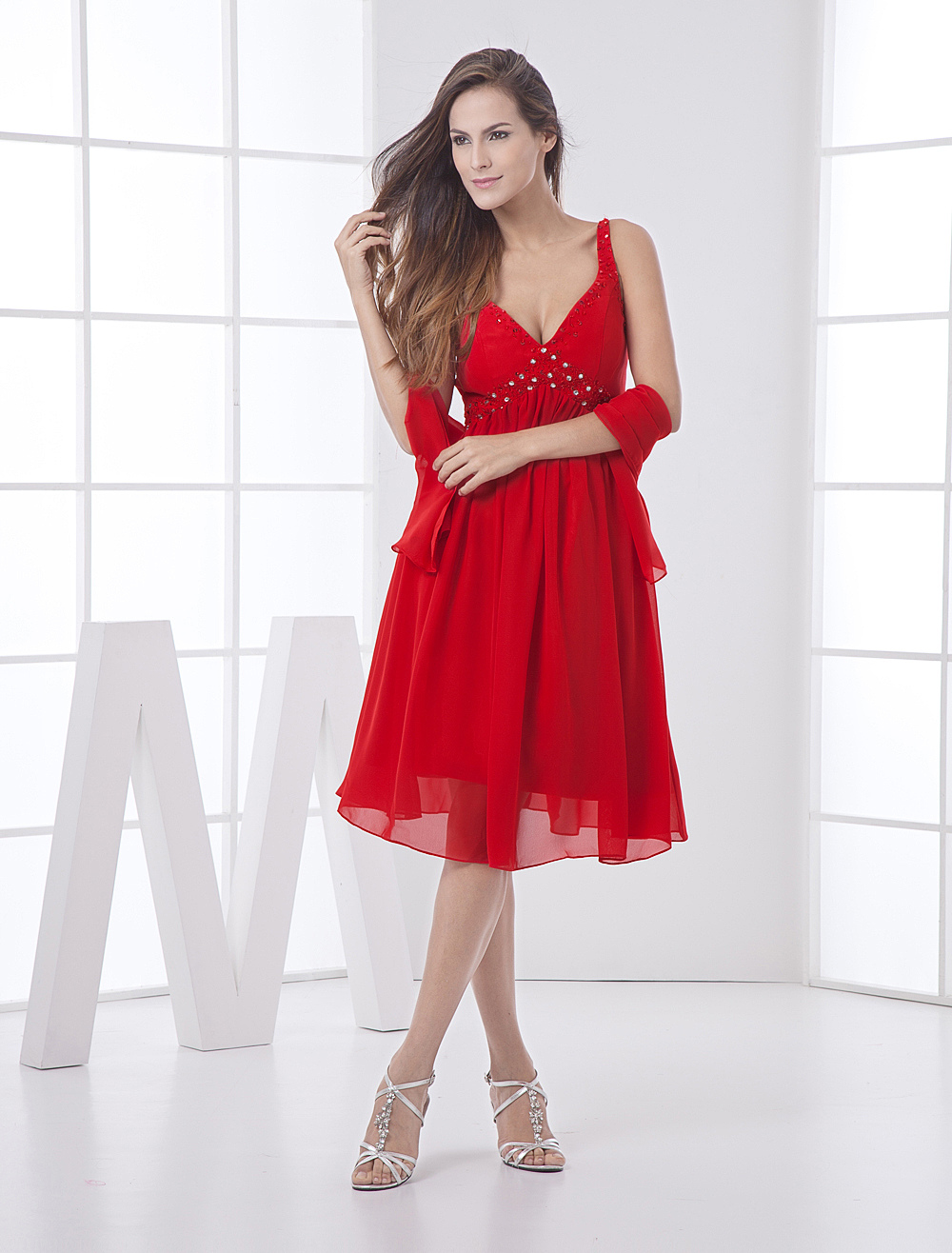 Red Bridesmaid Dress Backless Rhinestone Straps Chiffon Dress
