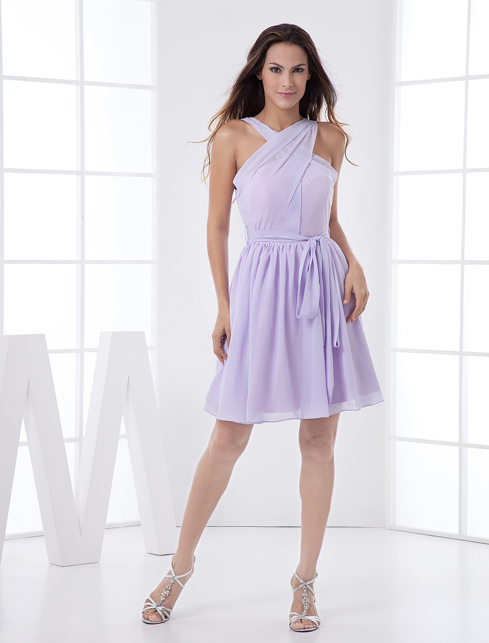 Chiffon bridesmaid dress lilac cross front a line short prom dress 30off ombrellifo Choice Image