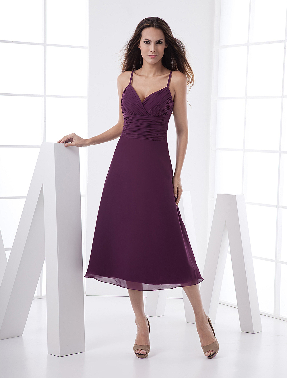Spaghetti Sweetheart Wrapped Chiffon Prom Dress
