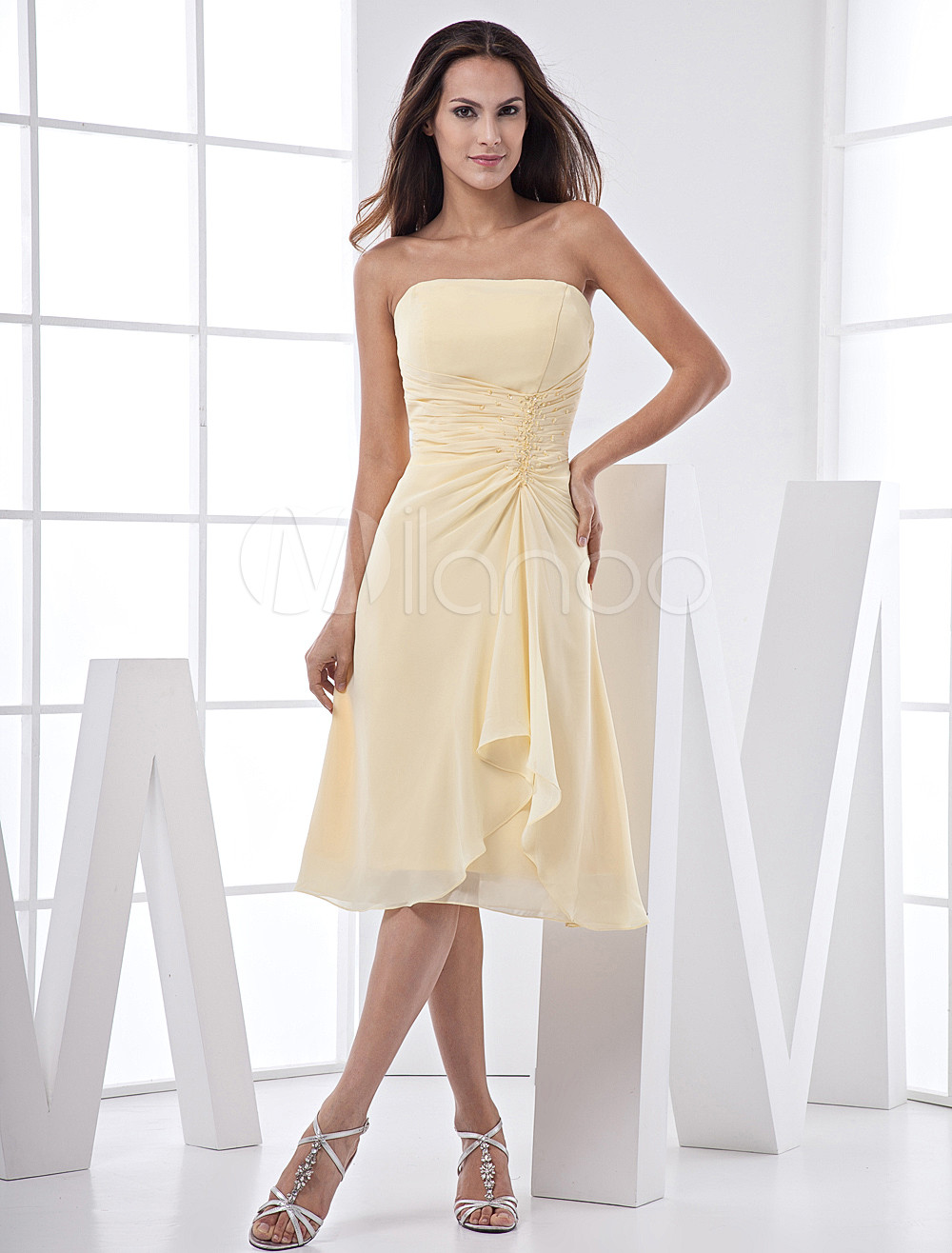 A-line Tea-Length Bridesmaid Dress With Drape Front