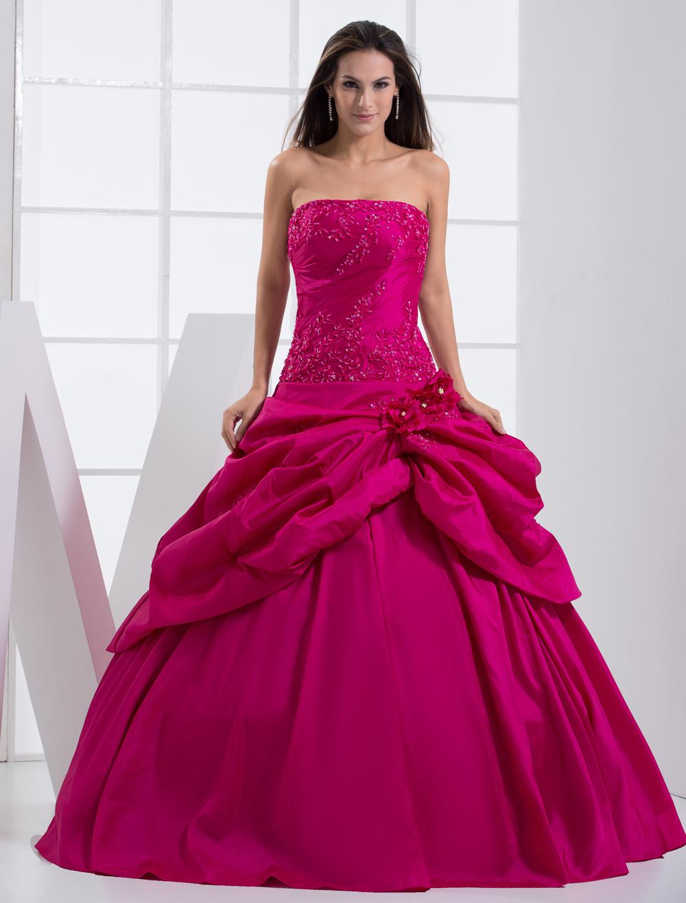 Vestido para quinceañeras de tafetán Rosa caliente con escote ...