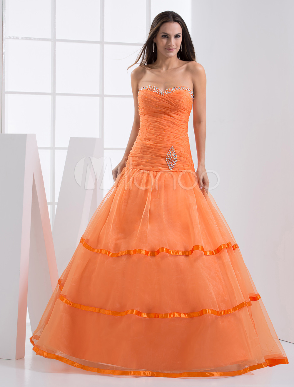 Orange Floor-Length Prom Dress with Ball Gown Sweetheart Neck ...