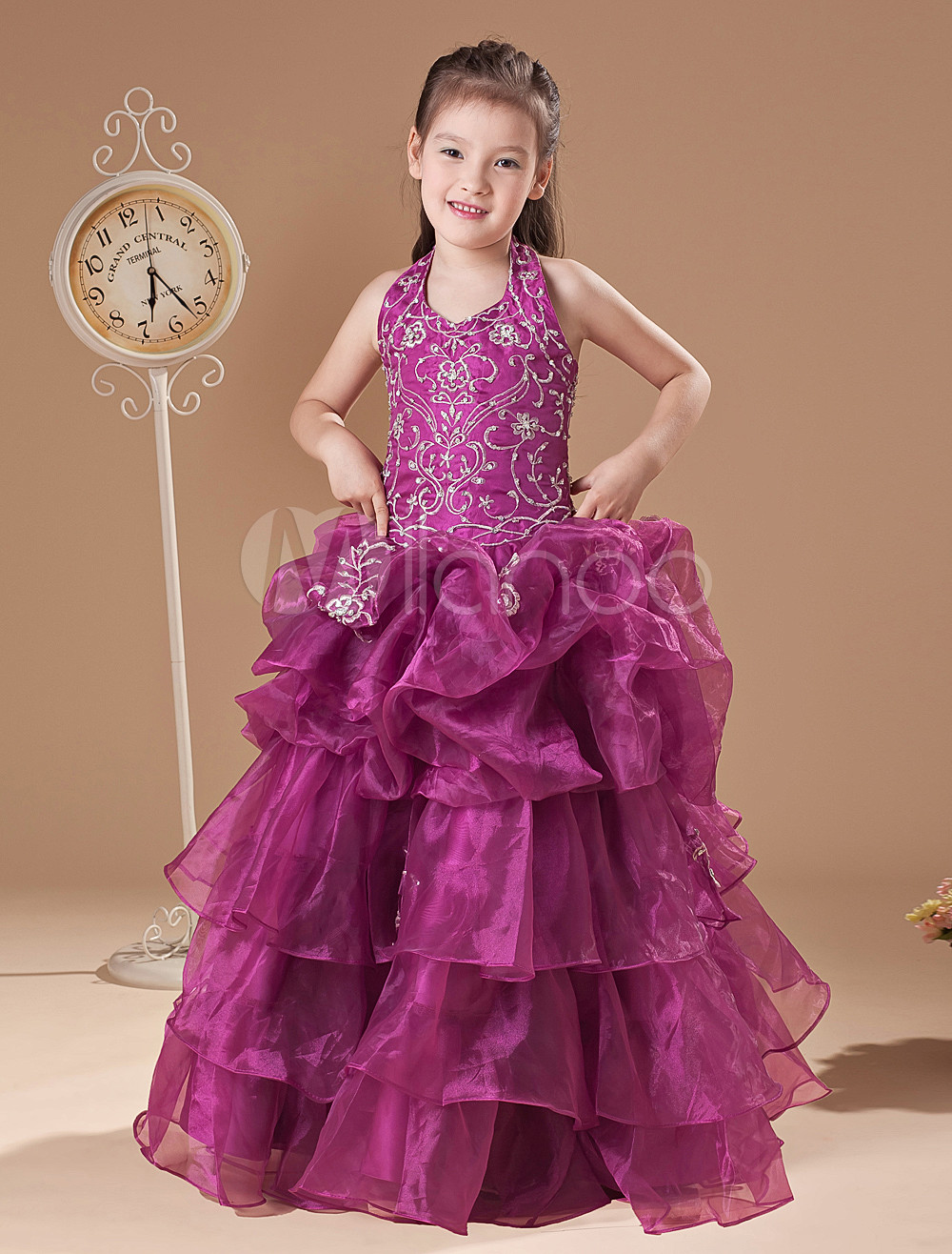 5c99e9feca5c Flower Girl Dresses Rose Halter Lace Embroidered Little Girls Pageant Dresses  Ball Gown Organza Ruffles Tiered First Communion Dress - Milanoo.com