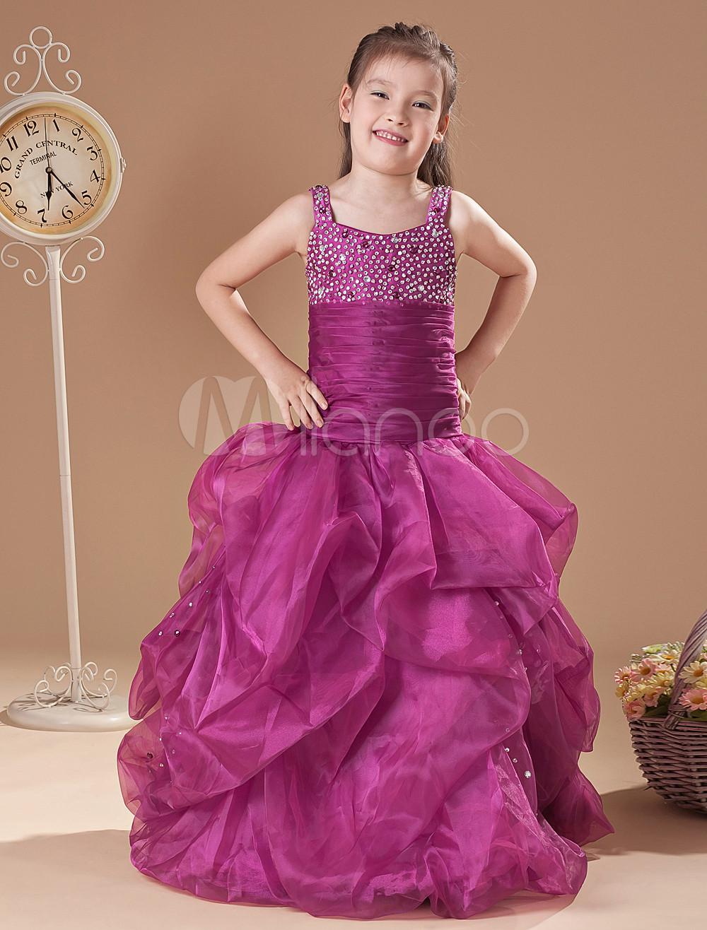 Vestido formal para niñas de tul de color de uva con tirantes ...