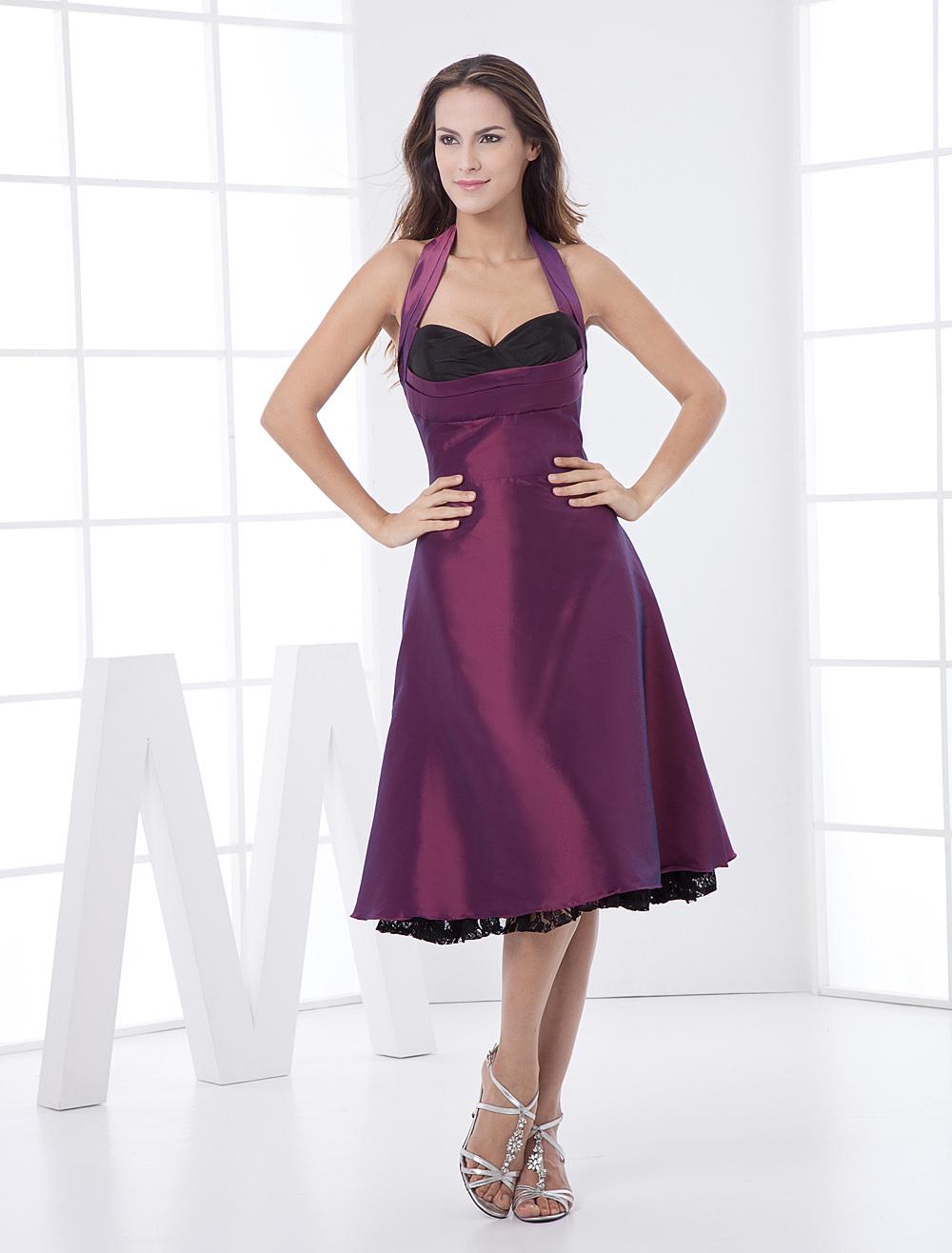 b7d42edec442e Grape Purple Halter Taffeta Net Prom Dress - Milanoo.com