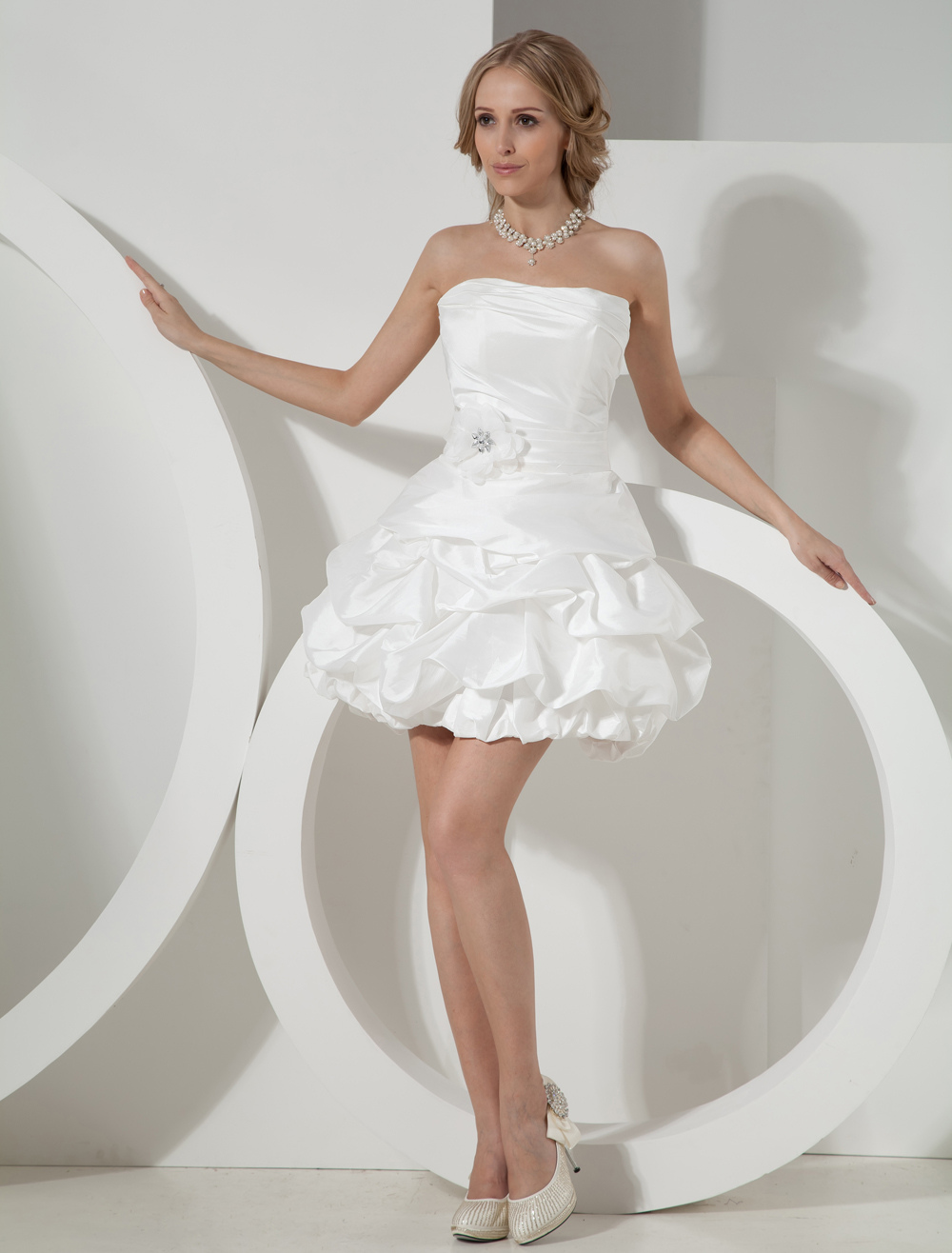 Ivory Strapless Mini Wedding Dress - Milanoo.com